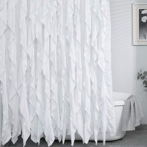 White Ruffle Shower Curtain Waterresistant Elegant